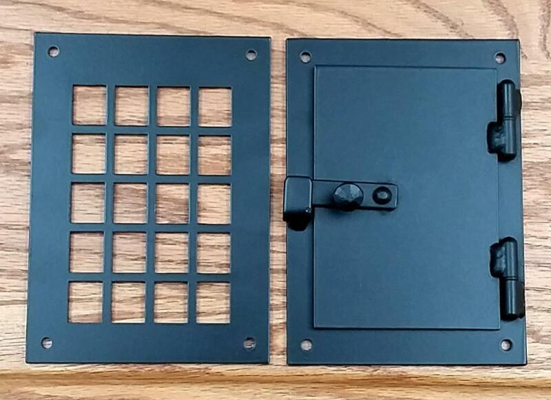 Peephole Viewer, Hinged Door Viewer, Square Style, 2 pc. Speakeasy Door Grille V