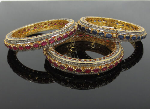 3 Estate 11.0ct Diamond & 20.0ct Ruby & 10.0ct Sapphire Sterling Silver Bangles