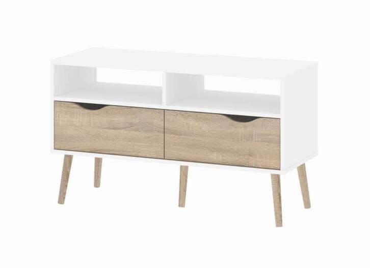 Tvilum TV-meubel met 2 lades en 2 open vakken wit eiken Napo