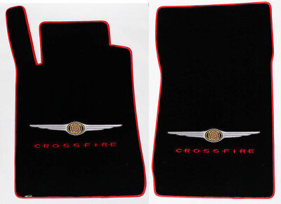 NEW! BLACK Floor Mats 2004-2008 Chrysler CROSSFIRE Embroidered Logo w/ Red Bind