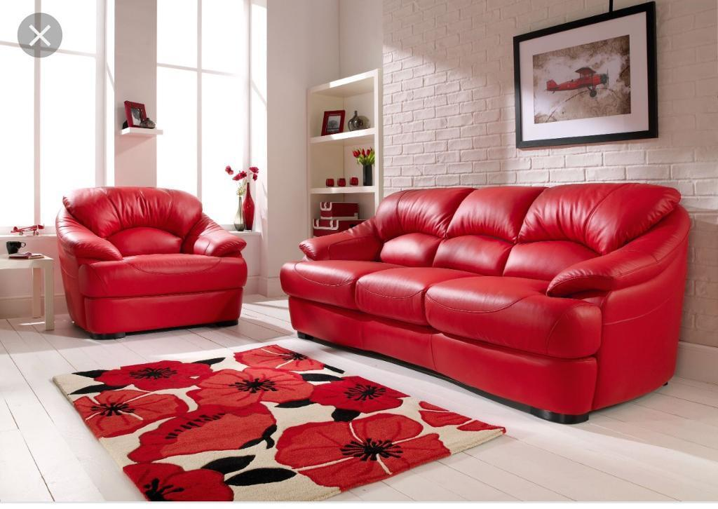Red Leather Sofa Set One 3 Seater And 2 1 Seaters