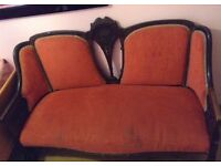 Mahogani 1930s sofa set of three