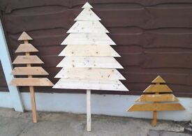3 X recycled wood Christmas trees