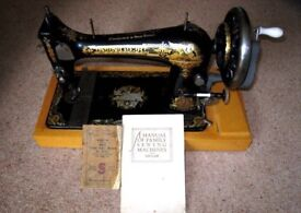 Antique Hand Cranked Singer Sphinx Sewing Machine 27K 1904 + Singer Manuals