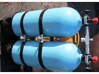 Twin Aluminum Heavy Duty Diving Cylinders Manifold & Midland Diving Equipment Heavy duty Harness
