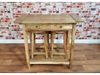 Rustic Extending Breakfast Bar with Two Stools Space Saving Kitchen Island