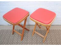 Pair of Folding Red Stools