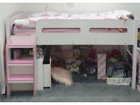 Matching Girls bedroom furniture. High sleeper. Drawers. Toy box. Book shelves