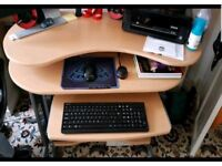 Computer Desk for Home Office Student Workstation Foldable 3 Level Work Space