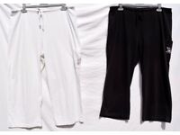 "Pair of KIT UK 18 Ladies Black & White Cropped 3 Quarter Length Trousers W36"" Elasticated 46"" & L22"""