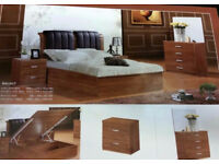 Stylish Solid Wood And MDF Wood storage bed Double, Kingsize Walnut and Beech Colors Fast Delivery