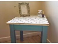 unique hand painted small wooden table, shabby chic, blue, cream and grey