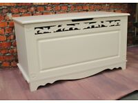 Lovely Ornate French Shabby Chic Style Ottoman or Blanket Box (Nationwide Delivery Available)