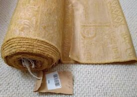 NEW Gold Chenille Velvet Curtain Fabric 9.5 Metre & 6 Piece Cushion Set Tassels Furnishing Christmas