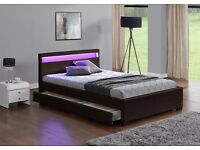 BROWN DOUBLE OR KING SIZE, LED COLOUR CHANGING LEATHER STORAGE BED **FREE DELIVERY UPTO 50 MILES**