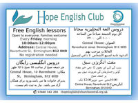 Free English Language lessons in Digbeth/Highgate/SparkBrook @Hope English Club