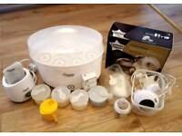 Tommee tippee bundle - electric breast pump, steriliser, bottle warmer