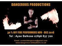 Stiltwalkers & fire performers £100