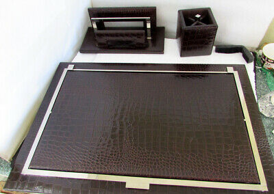 3 Pc Renzo Romagnoli Crocco Alligator Embossed Leather Desk Set Made In Italy