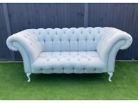 Stunning Pale Light Duck Egg Blue Green Pastel Chesterfield Sofa 2 3 Seater White Queen Anne Legs