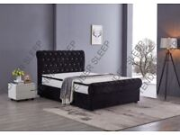 FREE AND FAST DELIVERY - NEW DOUBLE GAS LIFT OTTOMAN STORAGE VELVET SLEIGH BED AND MATTRESS RANGE