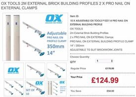 OX TOOLS 2m External Brick Building Profiles 2 x PRO NAIL ON EXTERNAL Clamps