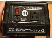 Voltage Converter 240V to 110V 300W. USA electrical equipment. Maplin. Mains adaptor. AC to AC