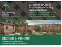 M B Gardening Services. All aspects of Garden Maintenance & Fencing work undertaken
