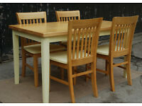 Solid Beech Dining Table & Four Dining Chairs - * Free Local Delivery
