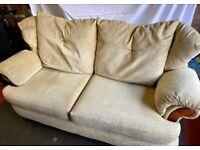 Large comfy three seater sofa in cream beige chenille fabric