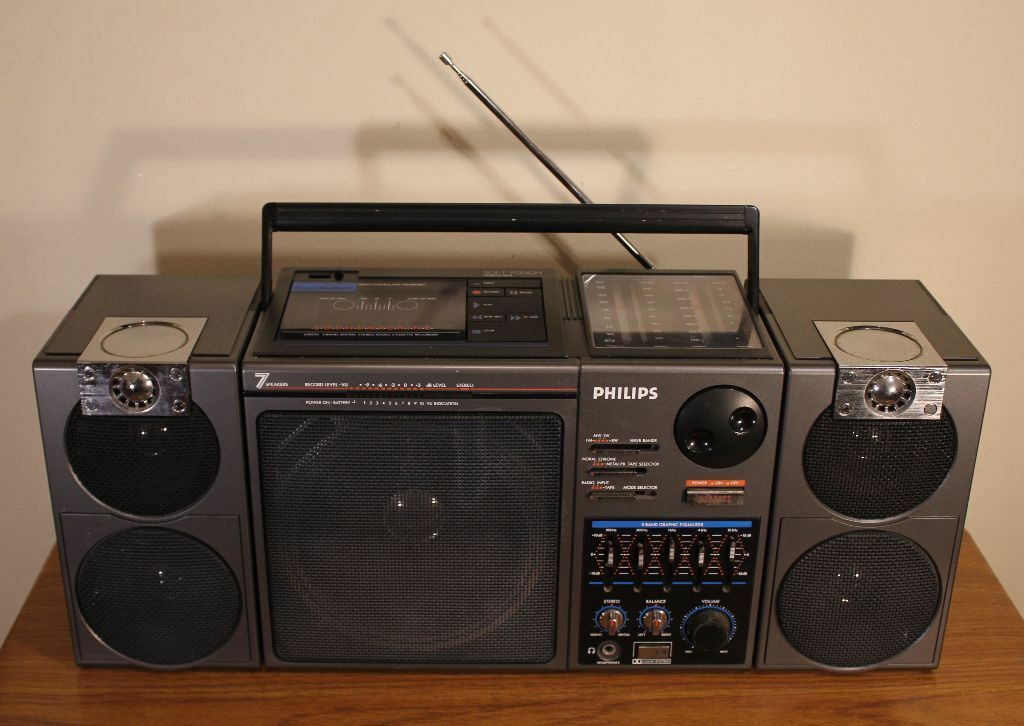 Vintage rare philips d8554 ghetto blaster boombox radio tape aux 7 speakers - Phillips ghetto blaster ...