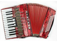 Delicia Junior IV - 26 Keys / 60 Bass - 2 Voice - Red Pearl Piano Accordion in Good Condition