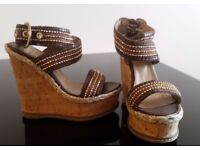 PLATFORMS SUMMER SANDALS PEEP TOE SIZE UK 4 EU 37