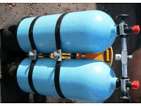 Twin Aluminum Heavy Duty Diving Tanks complete with manifold & Midland Diving Heavy Duty Harness