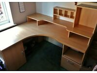 Pine Effect MDF Large Computer Corner Desk Home Office File Drawer Cupboard Cubbie Holes