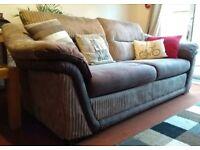 3 seater fabric sofa in beige/brown