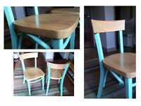 wooden chairs patio / dining room / living room