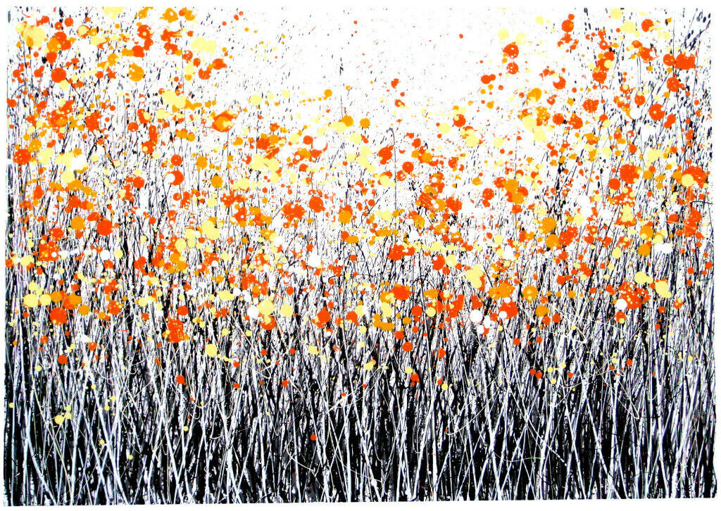 Very Large Original New Orange Black White Abstract Art Flower Meadow Canvas Painting Free Delivery In Martock Somerset Gumtree