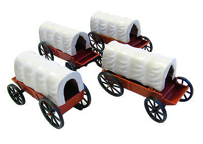 4 Pieces Covered Western Wagons (4 inches)