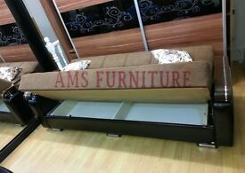 BRAND NEW COLORFULL FABRIC STORAGE SOFA BED, 3 SEATER SLEEPER LEATHER SETTEE - SAME DAY DELIVERY
