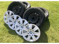 Genuine BMW Winter Wheel Set - 205/55R16; GoodYear UltraGrip 7+; Hub Caps; Steel
