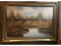 Large oil on canvas painting signed by artist