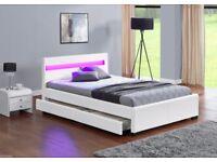 White single Music, Storage, Bluetooth, USB, LED, Leather Bed - optional memory foam mattress