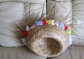 "STRAW HAT - INTERIOR APPROX 22"" - wide turned brim with pretty floral trim, assorted colours gc"