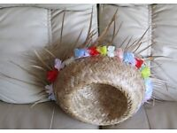 """STRAW HAT - INTERIOR APPROX 22"""" - wide turned brim with pretty floral trim, assorted colours gc"""