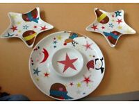 Porcelain platter and matching plates - new - Linea