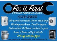 Washing machine, tumble dryer, dishwasher and electric cooker repair