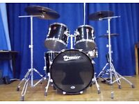 Premier APK drum kit & Premier hardware, with Pearl Export chrome snare drum.