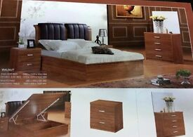 Solid Wood And MDF Wood storage bed Double and Kingsize Walnut and Beech Colors Fast Delivery