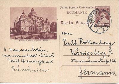 ROMANIA:1931,9,10 6 lei postal card (H&G 82) Sibiu to Germany, Scene fr Bucarest
